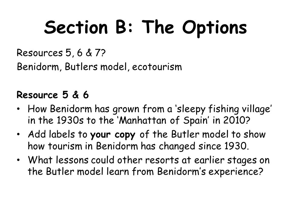 Section B: The Options Resources 5, 6 & 7