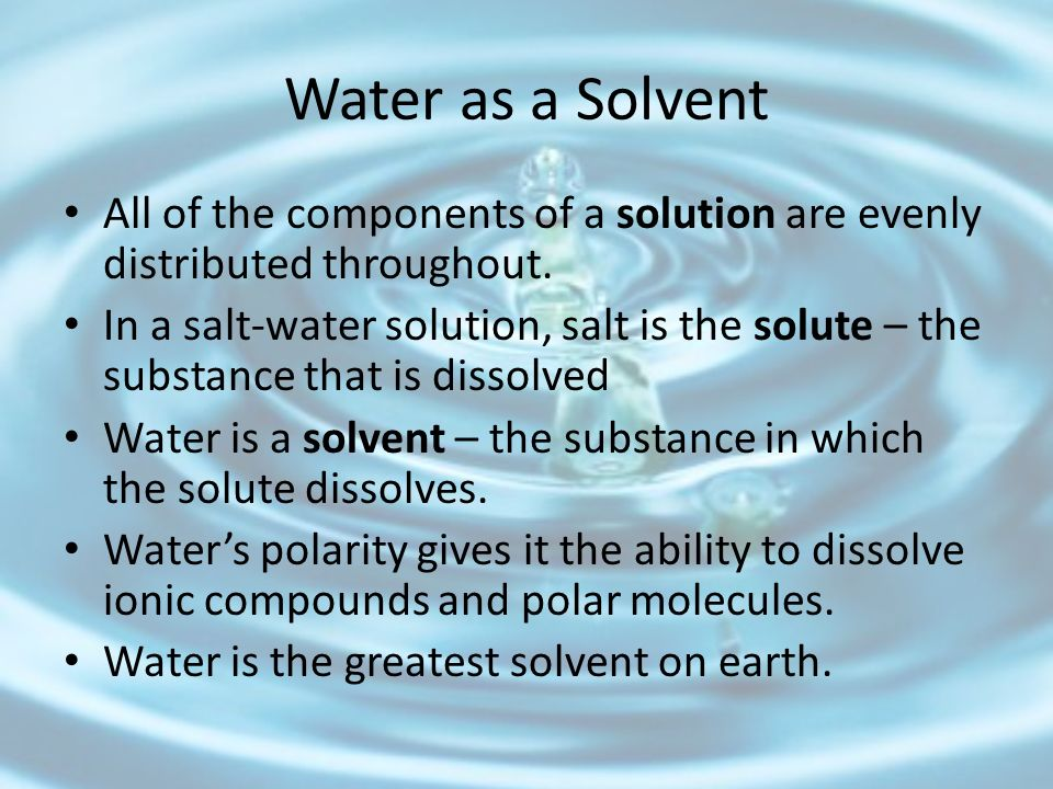 Water as a Solvent All of the components of a solution are evenly distributed throughout.