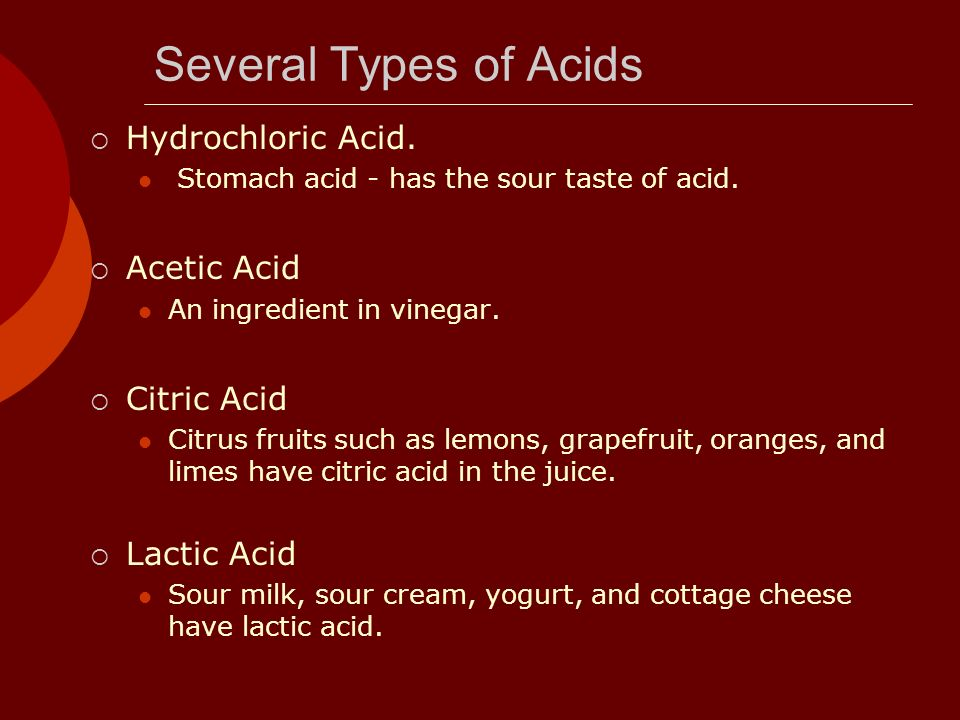 Several Types of Acids Hydrochloric Acid. Acetic Acid Citric Acid