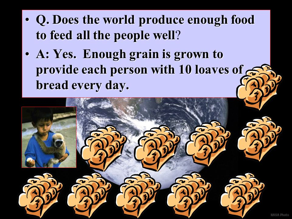 Q. Does the world produce enough food to feed all the people well