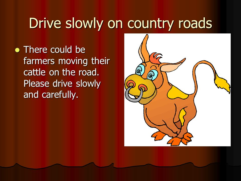 Drive slowly on country roads