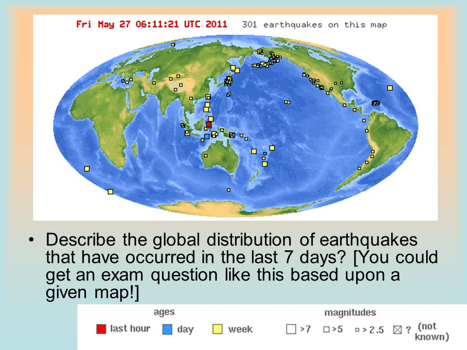 Describe the global distribution of earthquakes that have occurred in the last 7 days.