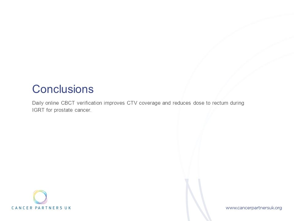 Conclusions Daily online CBCT verification improves CTV coverage and reduces dose to rectum during IGRT for prostate cancer.