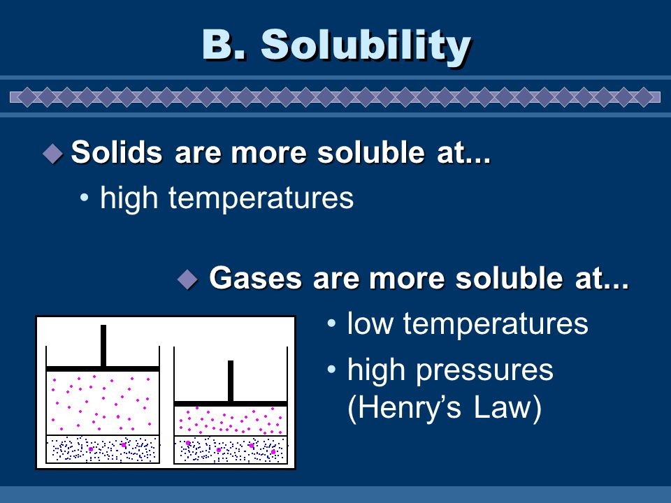 B. Solubility Solids are more soluble at... high temperatures