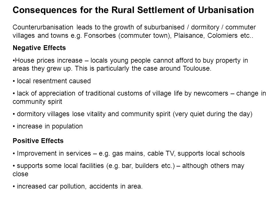 Consequences for the Rural Settlement of Urbanisation