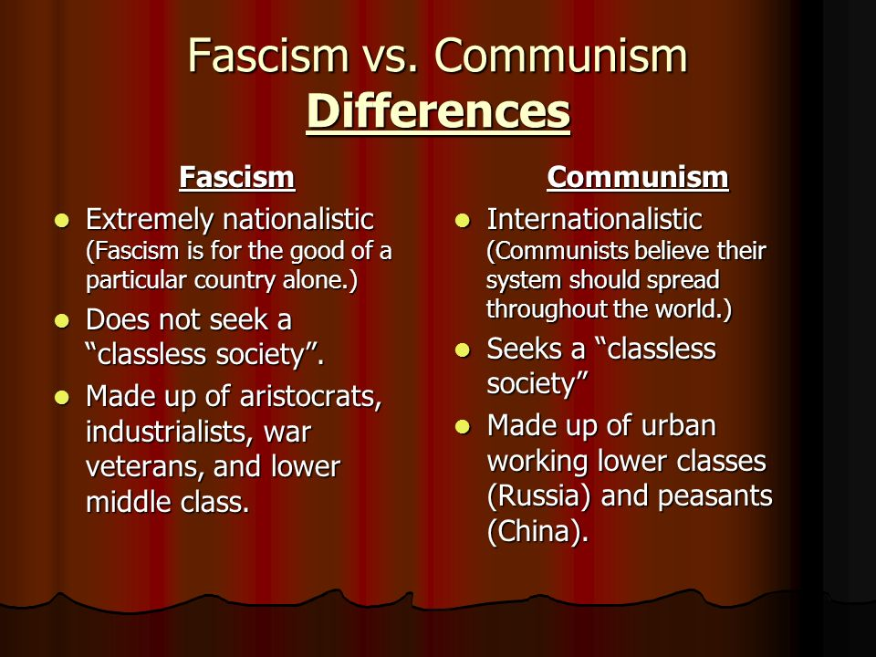 a comparison between fascism and communism More specifically, the suggestion is that communism and nazism are more or less identical this may be good propaganda but it is very poor political analysis there were similarities between stalinism and nazism in the use of mass terror and mass murder but there were also enormous differences between them.