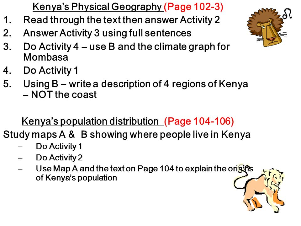 Kenya's Physical Geography (Page 102-3)