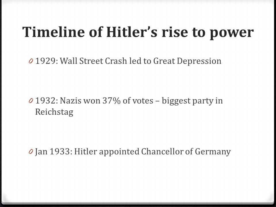 an examination of hitlers rise to power in germany August wilson any person that can rise up from the bottom rung of the ladder to the hitler's rise to power was not through an examination of hitler's.