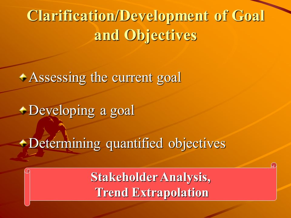 Clarification/Development of Goal and Objectives