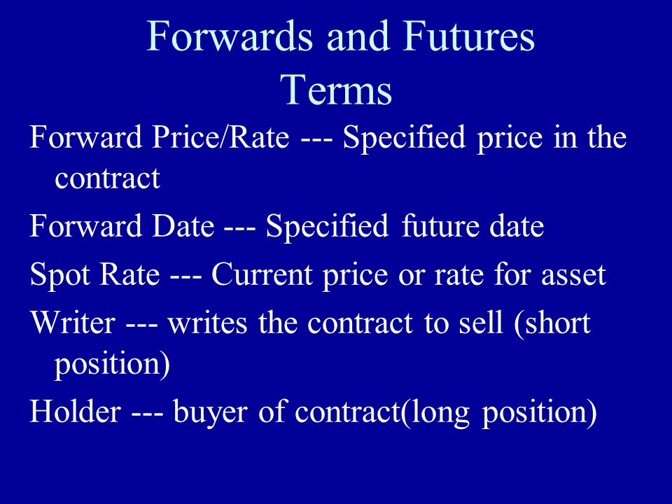 Forwards and Futures Terms