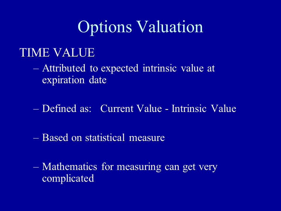 Options Valuation TIME VALUE