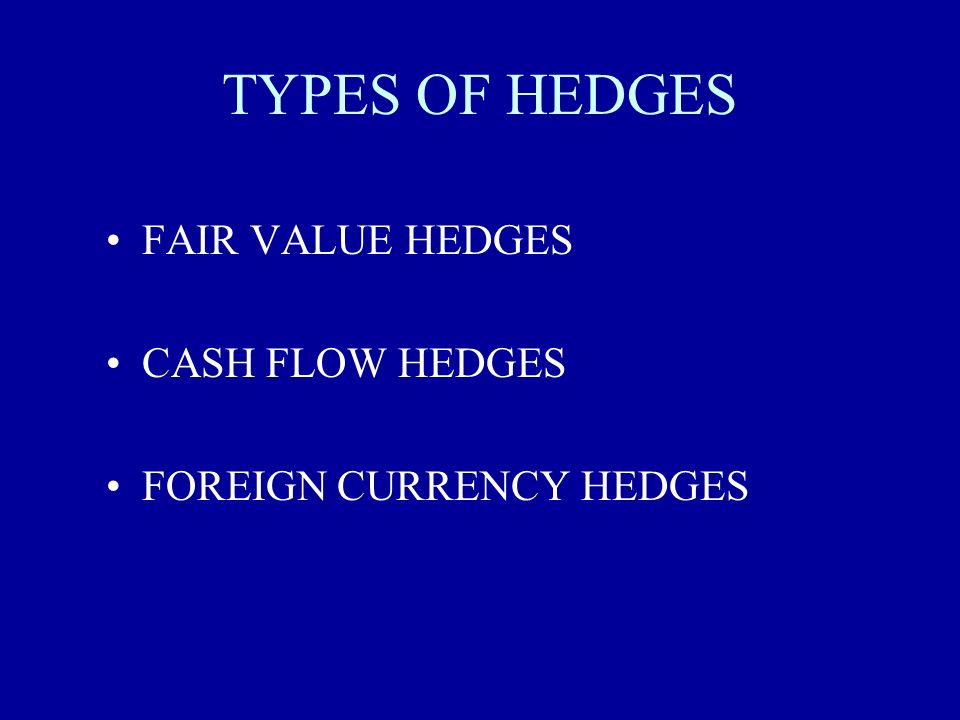 TYPES OF HEDGES FAIR VALUE HEDGES CASH FLOW HEDGES