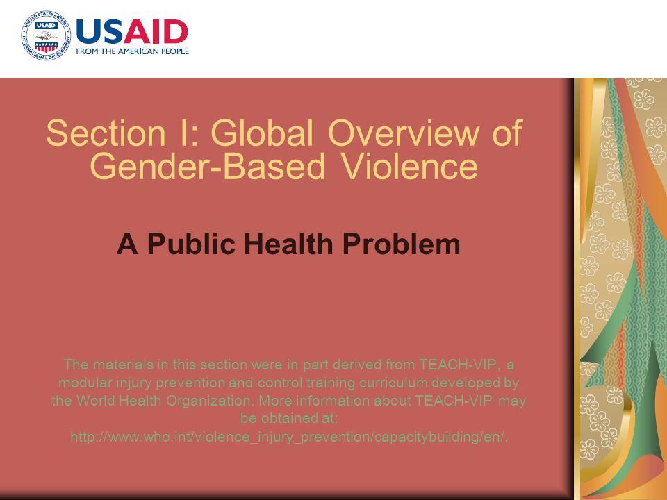 Section I: Global Overview of Gender-Based Violence