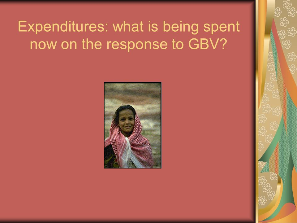 Expenditures: what is being spent now on the response to GBV