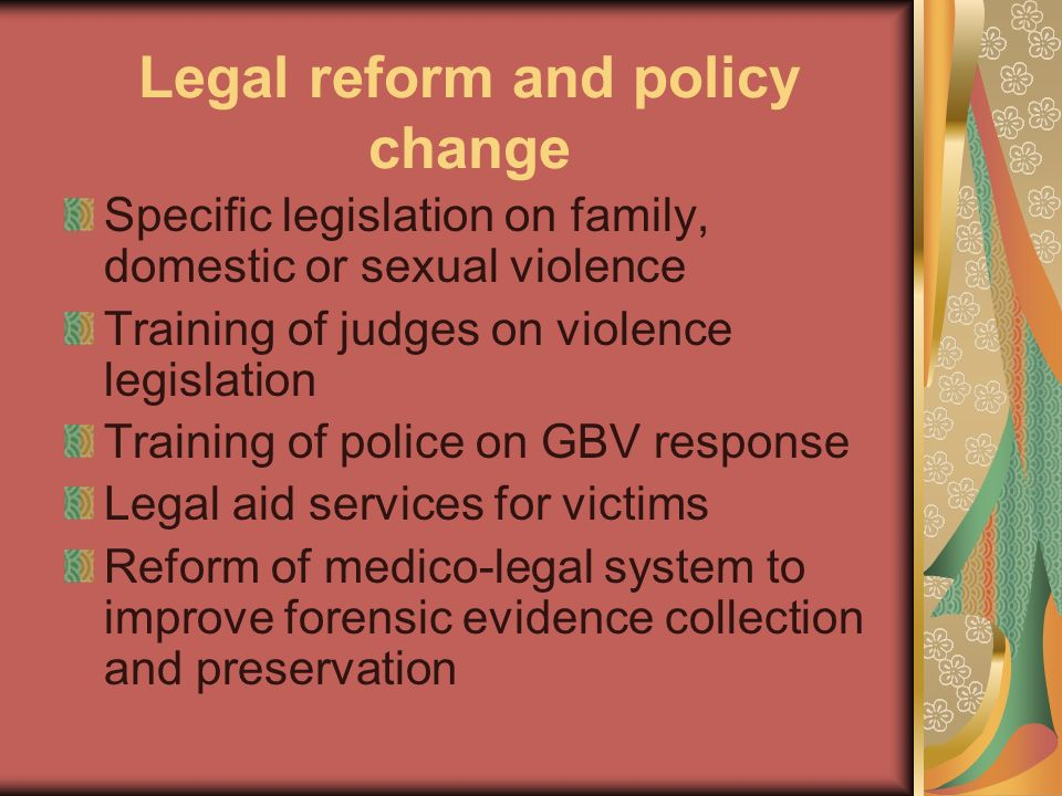 Legal reform and policy change