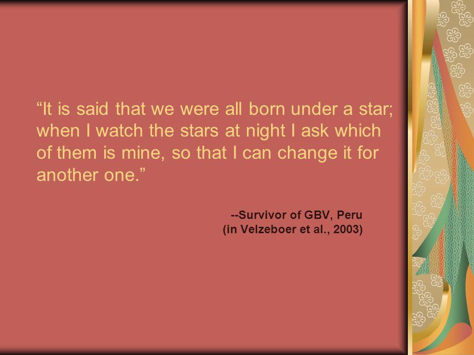 --Survivor of GBV, Peru (in Velzeboer et al., 2003)