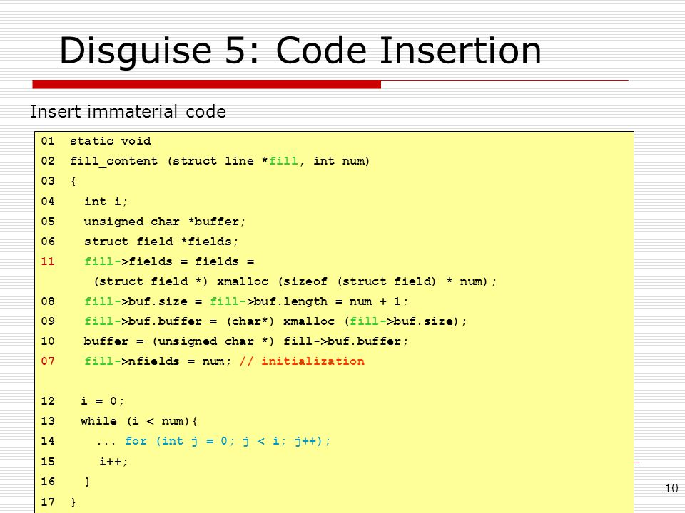 Disguise 5: Code Insertion