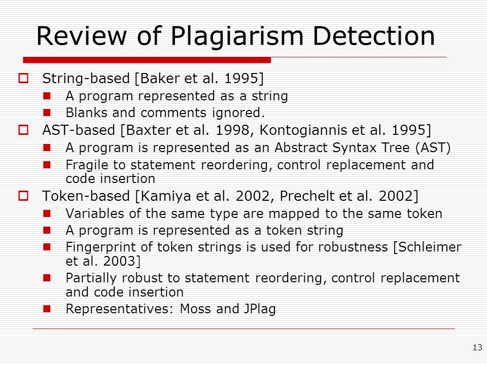 Review of Plagiarism Detection