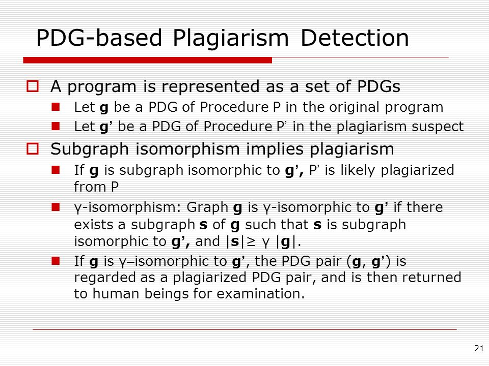 PDG-based Plagiarism Detection
