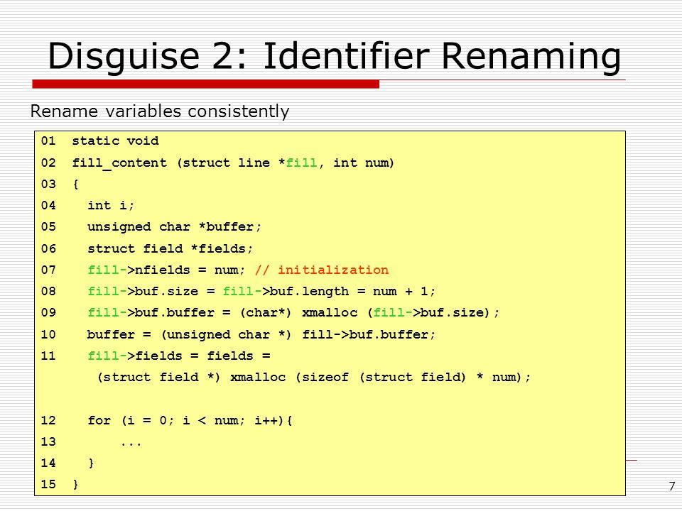Disguise 2: Identifier Renaming