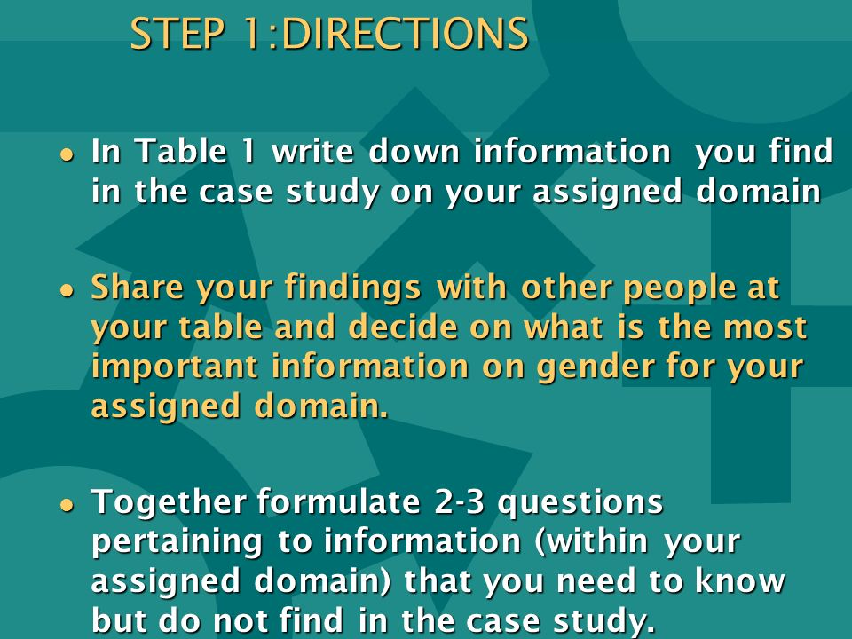 STEP 1:DIRECTIONS In Table 1 write down information you find in the case study on your assigned domain.