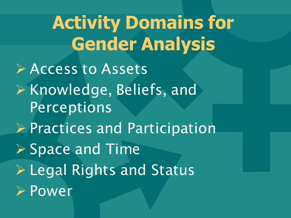Activity Domains for Gender Analysis