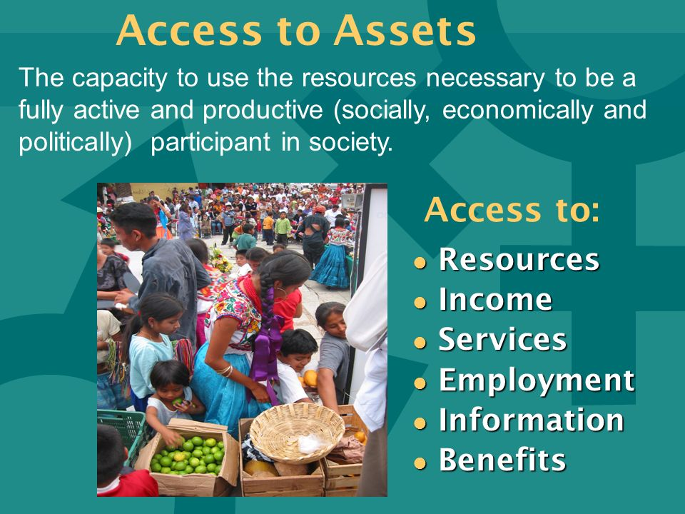 Access to Assets Access to: Resources Income Services Employment