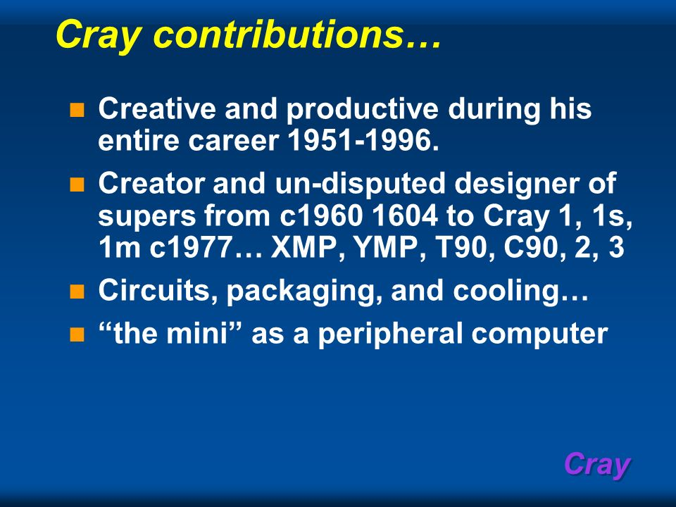 Cray contributions… Creative and productive during his entire career 1951-1996.