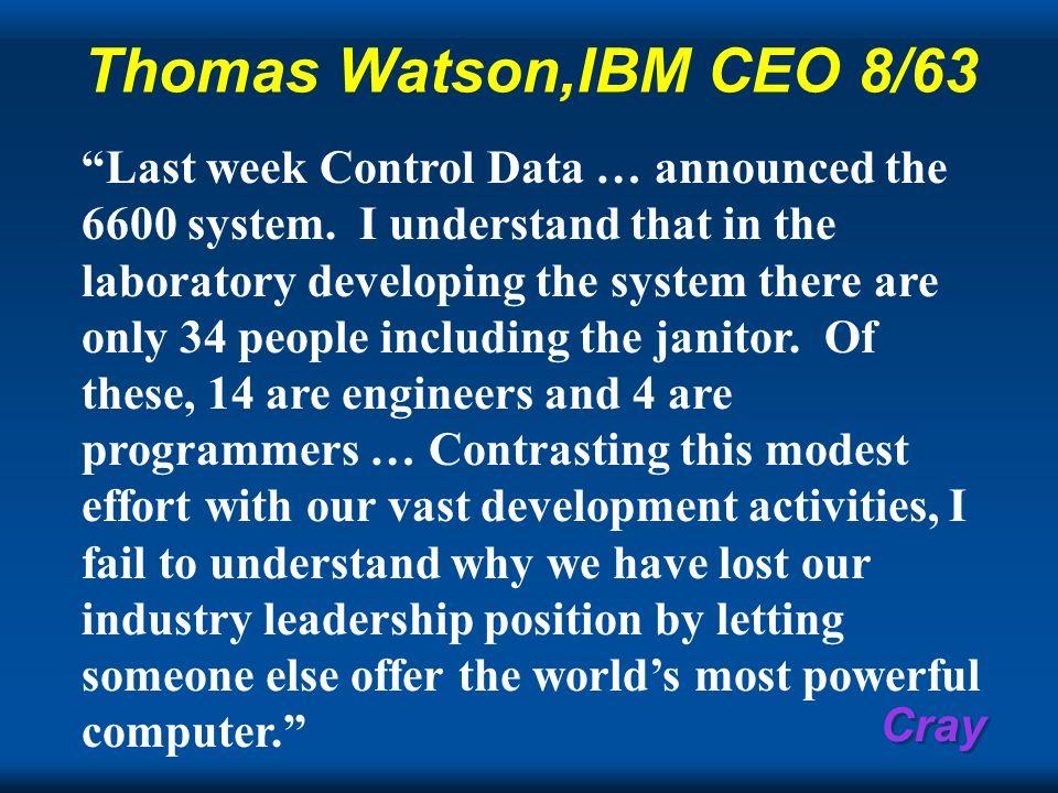Thomas Watson,IBM CEO 8/63
