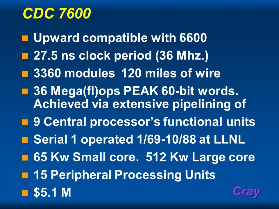 CDC 7600 Upward compatible with 6600 27.5 ns clock period (36 Mhz.)