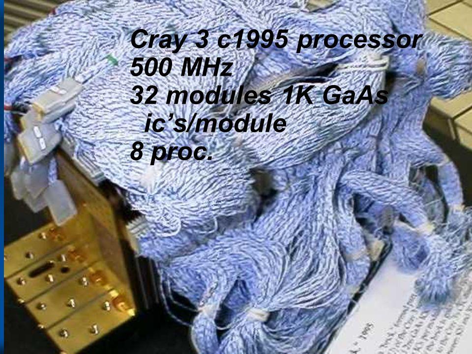 Cray 3 c1995 processor 500 MHz 32 modules 1K GaAs ic's/module 8 proc.