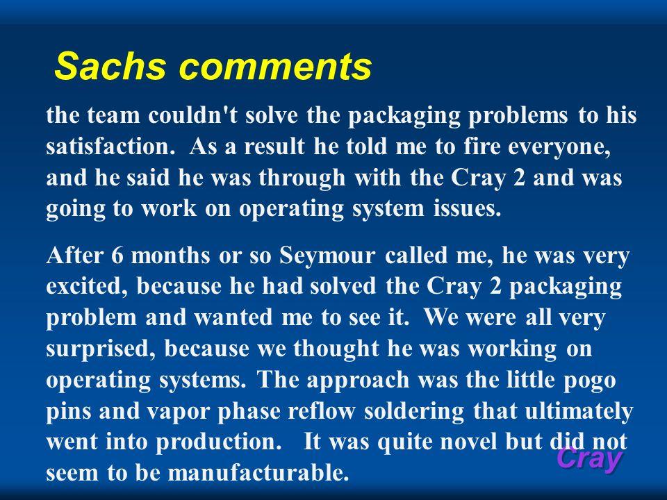 Sachs comments