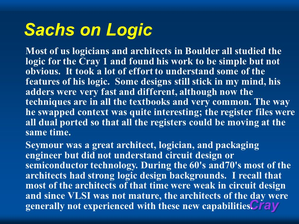 Sachs on Logic