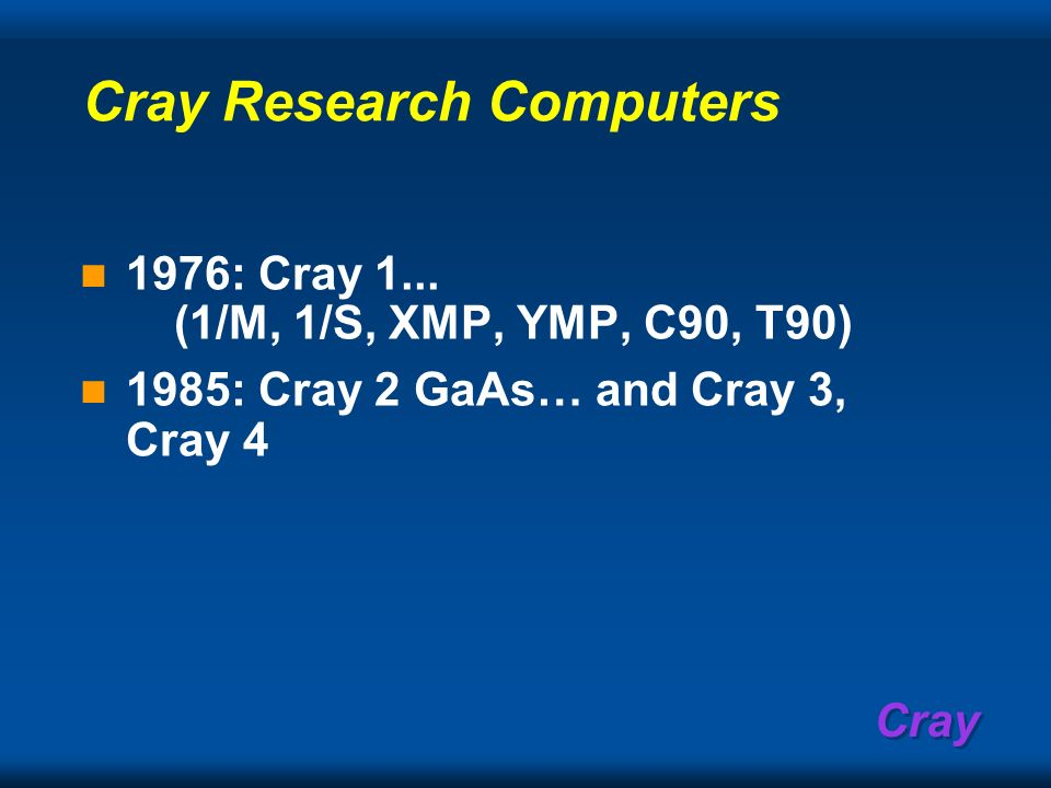 Cray Research Computers
