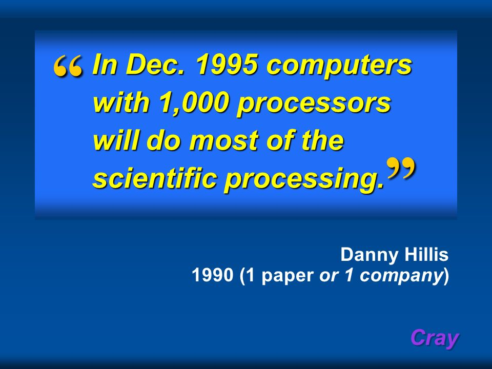 In Dec. 1995 computers with 1,000 processors will do most of the scientific processing.