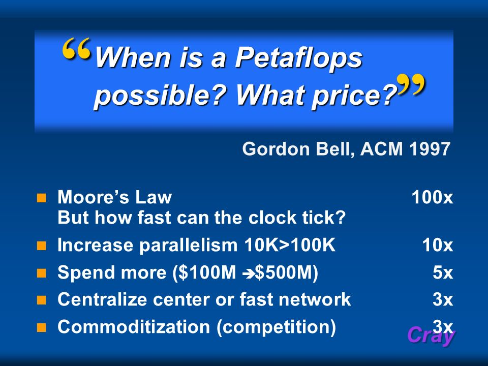 When is a Petaflops possible What price Gordon Bell, ACM 1997