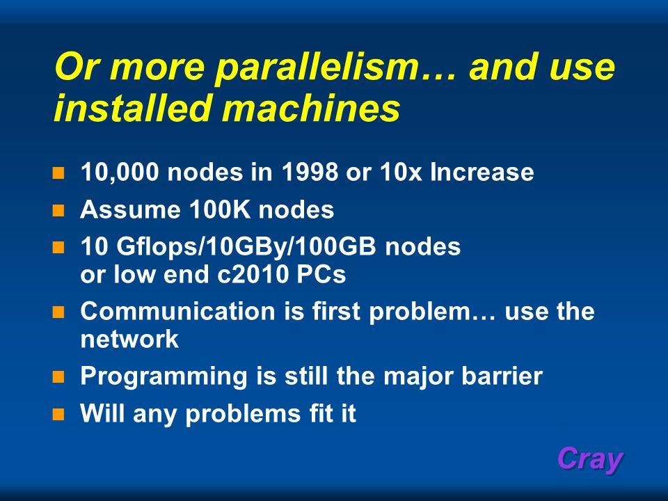 Or more parallelism… and use installed machines