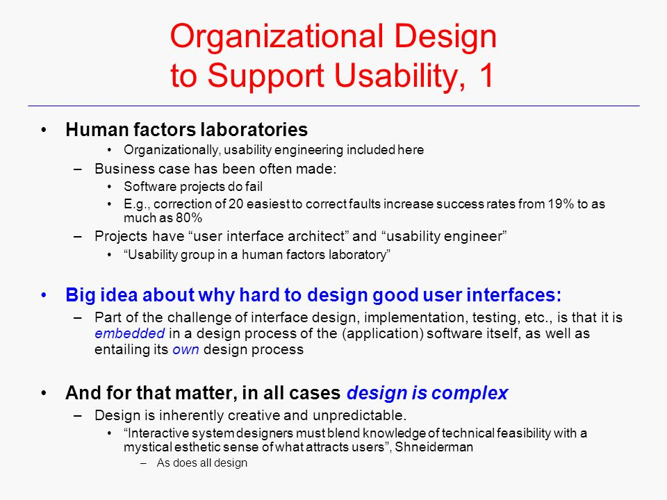 organizational design to support usability 1 usability engineer