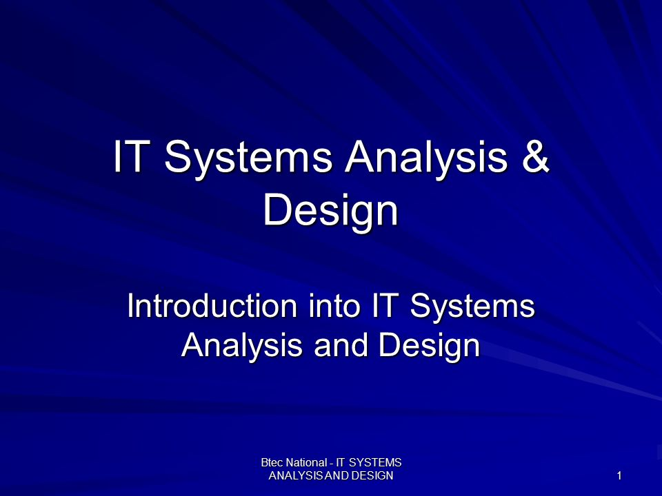 Systems analysis and design learn it online