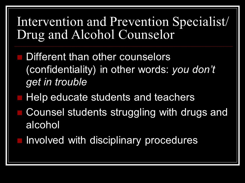 Drug And Alcohol Prevention Specialist