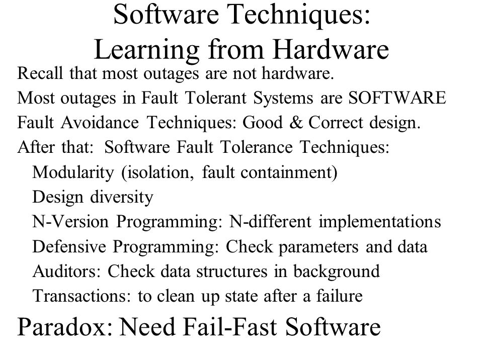 Software Techniques: Learning from Hardware