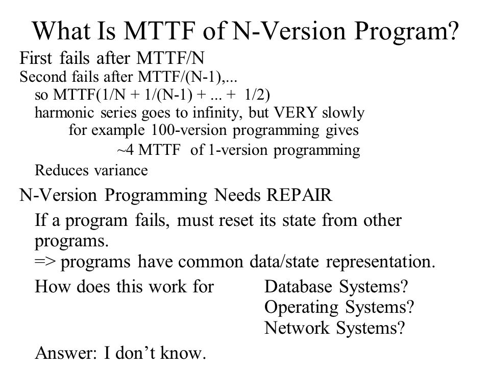What Is MTTF of N-Version Program