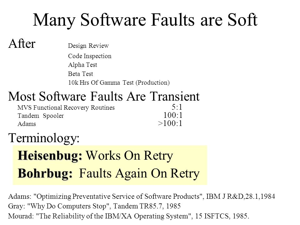 Many Software Faults are Soft