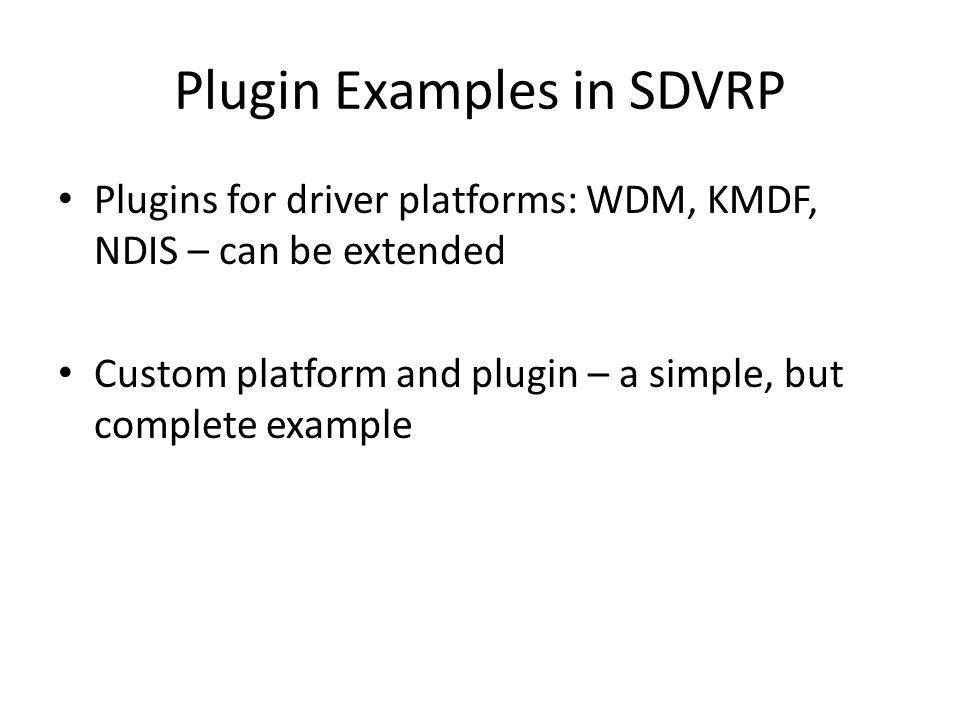 Plugin Examples in SDVRP
