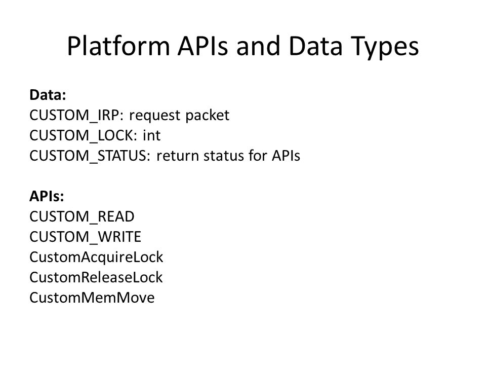 Platform APIs and Data Types