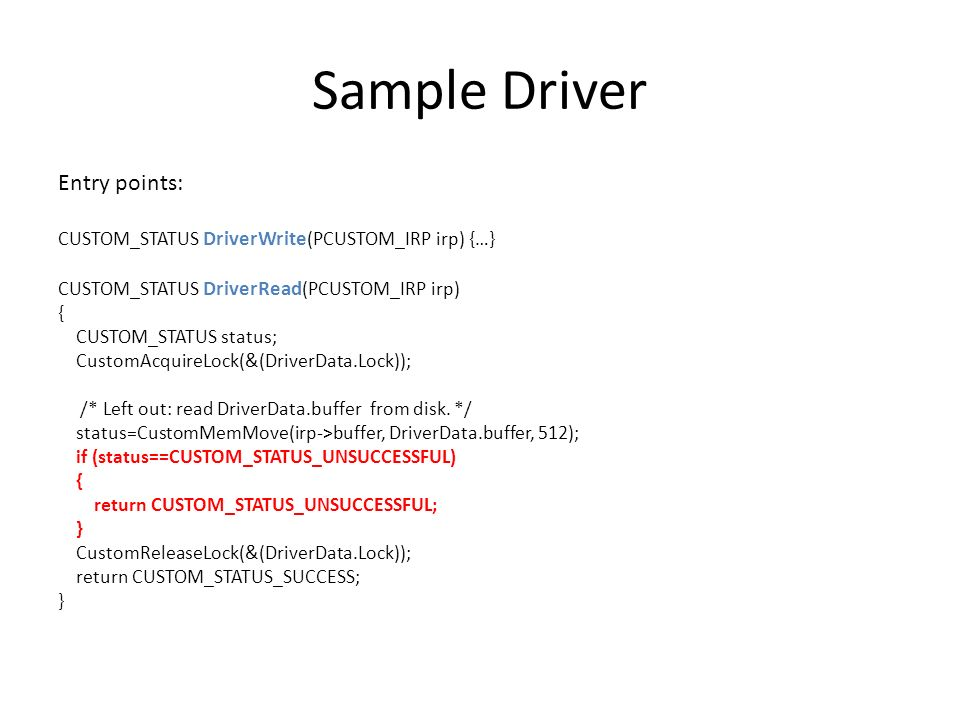 Sample Driver Entry points: