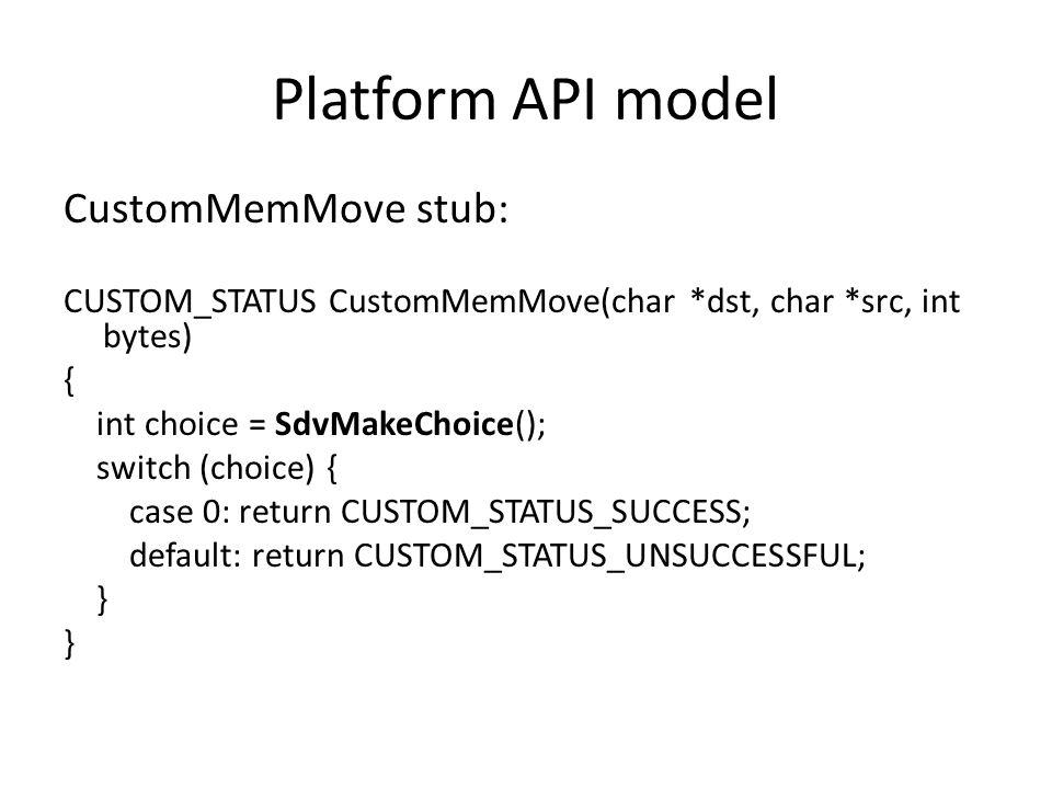 Platform API model CustomMemMove stub: