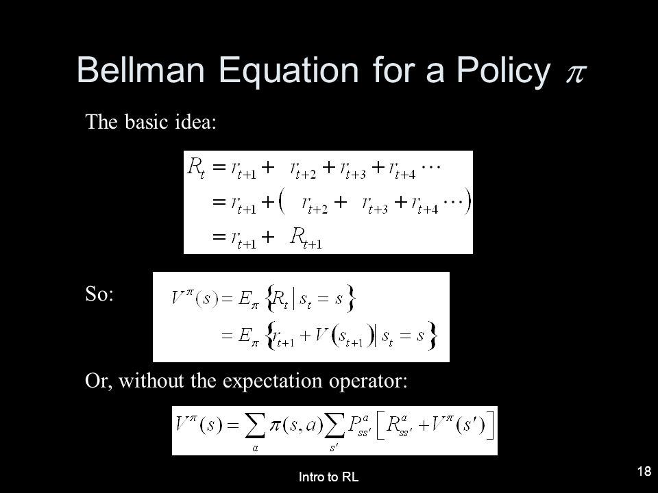 Bellman Equation for a Policy p