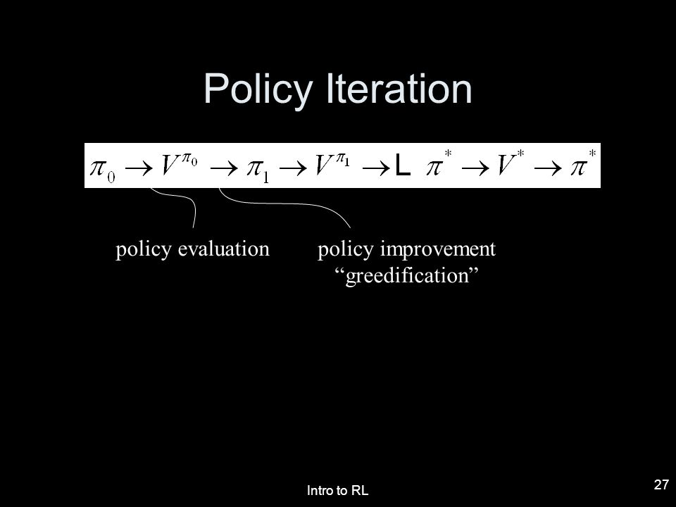 Policy Iteration policy evaluation policy improvement greedification