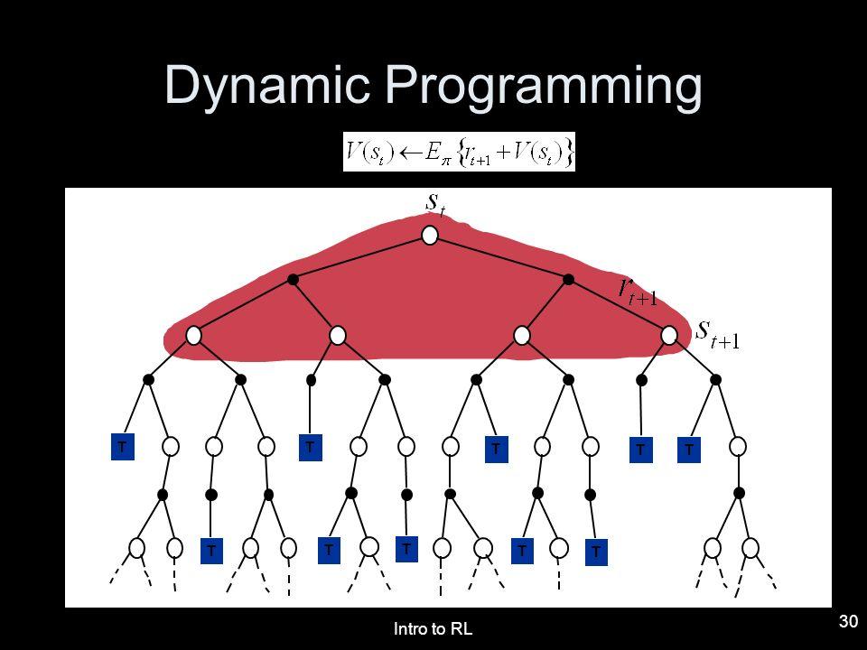 Dynamic Programming T T T T T T T T T T T T T Intro to RL